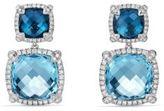 David Yurman Chatelaine Pave Bezel Double Drop Earring with Blue Topaz and Diamonds