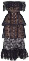 Self-Portrait Off-The-Shoulder Tiered Guipure Dress