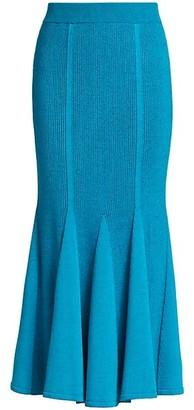 Carolina Herrera Plaited Rib-Knit Flare Skirt