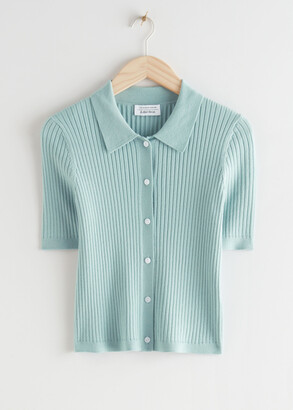 And other stories Fitted Button Up Knit Top