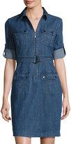 Neiman Marcus Zip-Front Belted Denim Shirtdress, Indigo