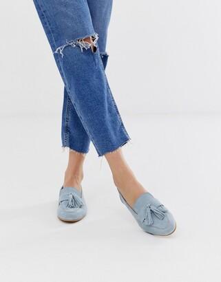Asos Design DESIGN Message suede tassel loafers-Blue