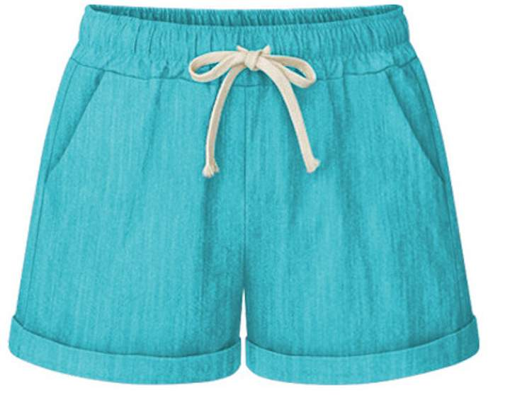 80dbb7d8f6 Elonglin Womens Drawstring Elastic Waist Casual Comfy Cotton Linen Beach  Shorts Women Athleisure