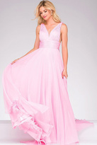 Jovani V-Neck Long Dress in Pink 45726B