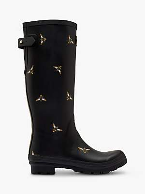 Joules Bee Print Waterproof Tall Wellington Boots, Black