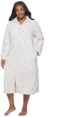 Croft & Barrow Plus Size Zip-Front Plush Robe