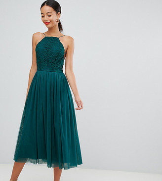 Asos Tall DESIGN Premium Tall tulle midi prom dress-Green