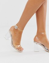 clear Simmi London Kehlani silver flared heel sandals