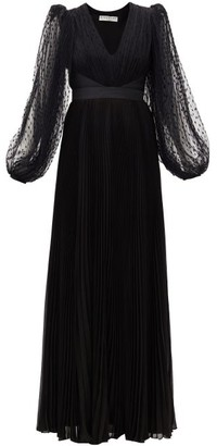 Givenchy Plumetis-tulle Balloon-sleeve Plisse Silk Gown - Black