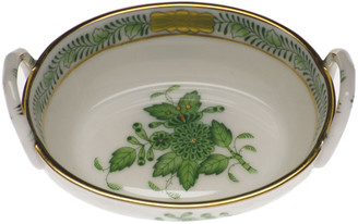 Herend Chinese Bouquet Green Small Basket with Handles
