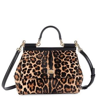 Dolce & Gabbana Medium Sicily Leopard-Print Calf Hair Leather Top Handle Bag