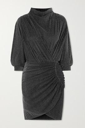IRO Absalon Twisted Metallic Striped Stretch-knit Mini Dress