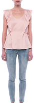 French Connection Nia Drape Fluted Front Blouse, Pink Opal