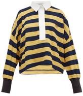 Loewe Striped Cotton-knit Polo Top - Womens - Yellow Multi