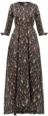Erdem Helenium Willow Ditsy-print Gown - Black Blue