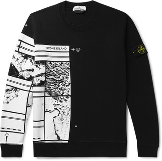 Stone Island Printed Fleece-Back Cotton-Jersey Sweatshirt