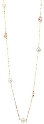 Chan Luu 18K Goldplated & 10MM-14MM Mixed Pearl Long Chain Necklace