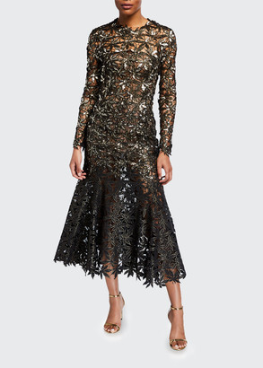 Oscar de la Renta Guipure Leaves Lace Trumpet Dress