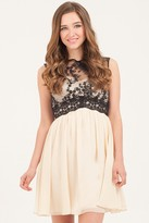 Thumbnail for your product : Little Mistress Cream & Black Contrast Lace Prom Dress