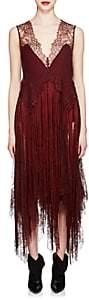 Givenchy Women's Silk & Lace Fringed Slipdress - Wine