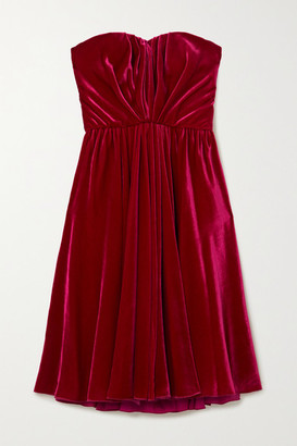 Dolce & Gabbana Strapless Ruched Velvet Dress - Plum