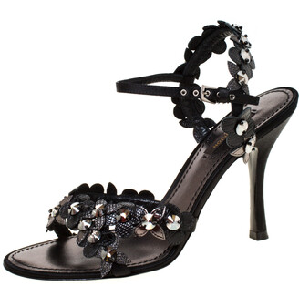 Louis Vuitton Black Floral Applique Satin Criss Cross Ankle Strap Sandals Size 38