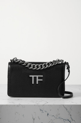 Tom Ford Tf Chain Lizard-effect Leather Shoulder Bag - Black