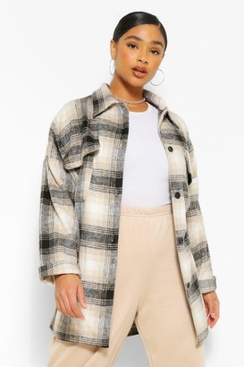 boohoo Plus Oversized Boyfriend flannel Shacket