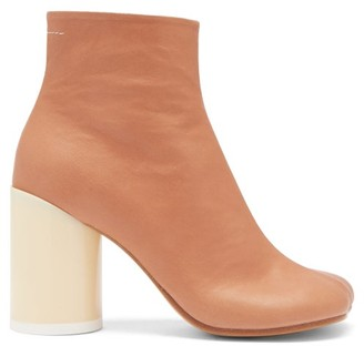 MM6 MAISON MARGIELA Stivaletto Block-heel Leather Ankle Boots - Tan
