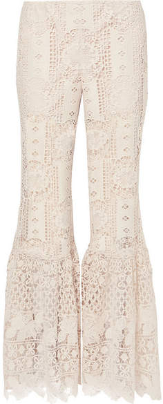 Anna Sui Guipure Lace Flared Pants - Cream