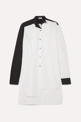 Loewe Asymmetric Two-tone Cotton-poplin Shirt - White