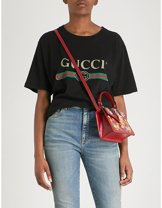 Gucci Women's Black Logo-Print Cotton-Jersey T-Shirt