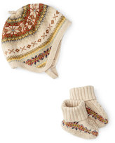 Ralph Lauren Intarsia Hat & Bootie Set, Oatmeal, Size Newborn-9 Months