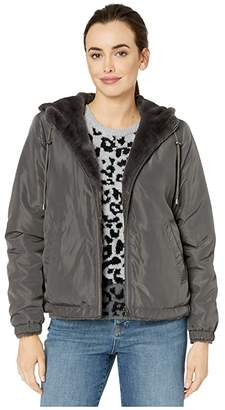 True Grit Dylan by Solid Faux Fur Love Reversible Jacket with Matching Lining (Vintage Black) Women's Clothing