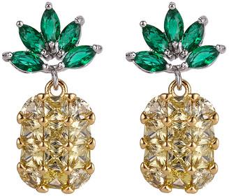 Eye Candy La Eye Candy LA Women's Earrings gold - Green & Yellow Pineapple Drop Earrings
