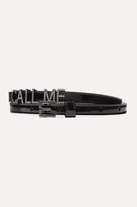 Saint Laurent Call Me Crystal-embellished Patent-leather Belt - Black