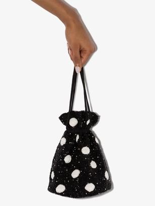 Ganni Beaded Polka-Dot Bucket Bag
