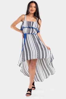 francesca's Anah Mix Print High Low Dress - Ivory