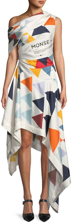 Monse One-Shoulder Triangle-Print Asymmetric Scarf Dress