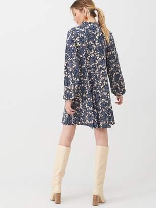 Very Tie Neck Mini Trapeze Dress - Floral Print