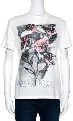 Christian Dior Off White Flower Power Print Cotton Linen T-Shirt S