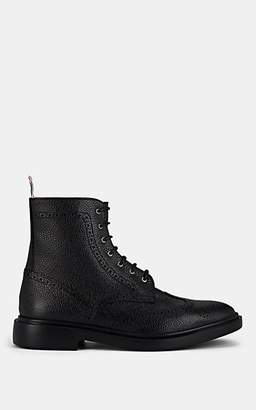Thom Browne Men's Pebbled Leather Wingtip Ankle Boots - Black