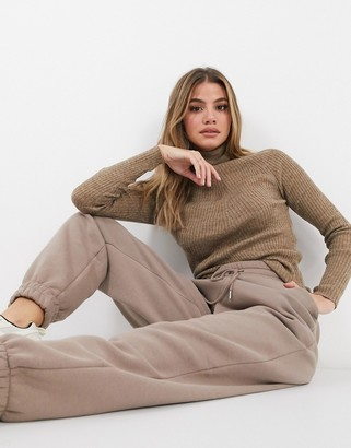 Brave Soul trudy roll-neck ribbed jumper in camel