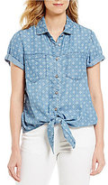 Intro Short Sleeve Button Down Tie-Front Medallion Print Lyocell Denim Top