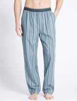 Marks and Spencer Pure Cotton Striped Long Pyjama Bottoms