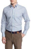 Peter Millar Check Long-Sleeve Sport Shirt, Blue