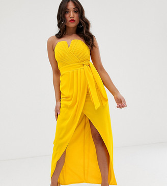 TFNC Petite bandeau wrap midaxi dress with pleated detail in yellow