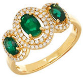 Lord & Taylor 14K Yellow Gold Emerald and Diamond Ring, 0.264 TCW