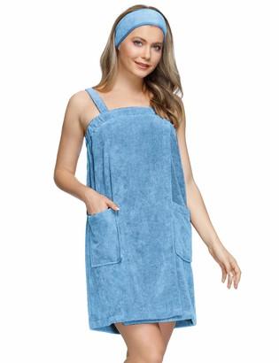 Zexxxy Women Bath Wrap Towel for Shower with Pocket Straps Robe&Facial Headband Blue L