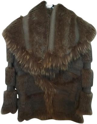 Yves Salomon Brown Raccoon Coat for Women